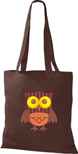 ShirtInStyle Jute Stoffbeutel Bunte Eule niedliche Tragetasche mit Punkte Karos streifen Owl Retro diverse Farbe, natur braun