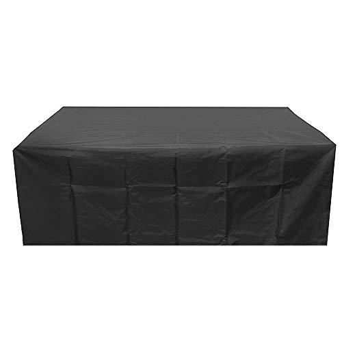 Weikeya Schutzhülle für Gartenmöbel Wasserdichtes Oxford-Gewebe Kordelzug für Terrasse Esszimmer Sofa Tisch Rattan-Möbel (Schwarz, 213 x132x74cm) -