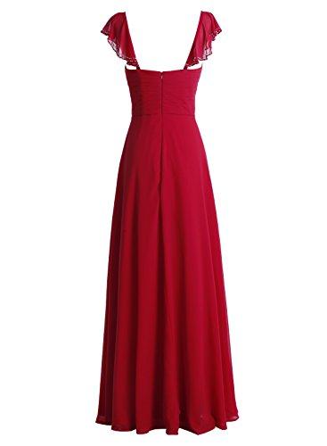 Bbonlinedress Robe de cérémonie et de demoiselle d'honneur manches chauve-souris Sweetheart plissée dos nu longue de sol en mousseline Jaune
