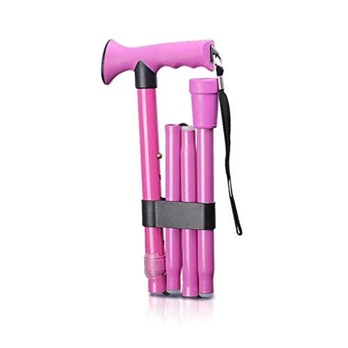 ACZZ Gehstock Faltbare Gehstöcke mit Holzgriff Krücken 5 Höhenverstellbare Stufen für Männer Frauen Gummi-Aderendhülsen Basis in Pink max. 120 kg