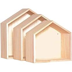 Artemio 14001561 Set de 3 étagères en Bois décorer, Plastique, 30x10x30 cm 27x26, 24x22,5x10 cm