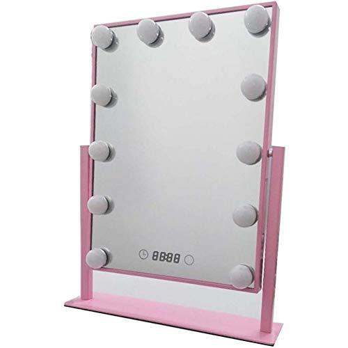 ZNDDB Kosmetikspiegel 360 ° - Drehung mit LED-Leuchten, geeignet für Make-up Tragen von Kontaktlinsen Rasieren usw einfach zu Reisen, schminkspiegel,B