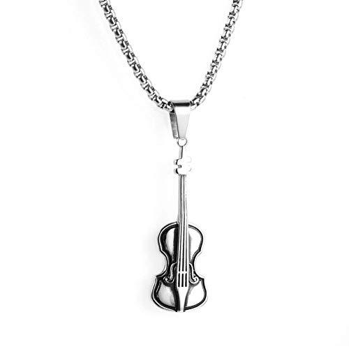 imalistische Musik Violine Titan Stahl Anhänger Musikinstrument Halskette Hip Hop Rap Halskette Paar Halskette Geburtstagsgeschenk. ()