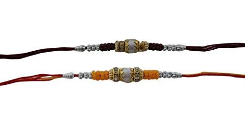 PMK Set of Two bianco perla N Anello marrone giallo con multi filo di colore. Raksha Bandhan regalo per tuo fratello. - Anello Perla Indiana
