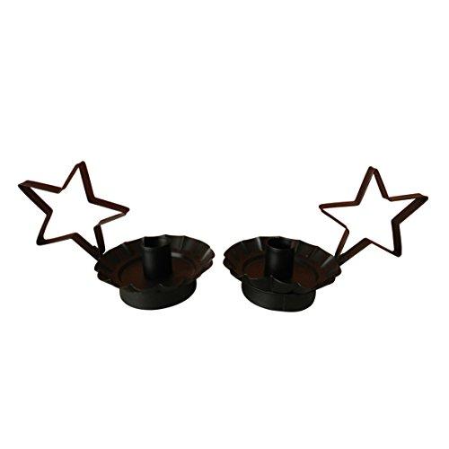 Craft Auslass Primitiv schwarz Star Kerzenhalter von cvhomedeco. 17,8 X 10,2 X 10,2 , Set 2 Stück. (Weihnachten Primitive Dekor)