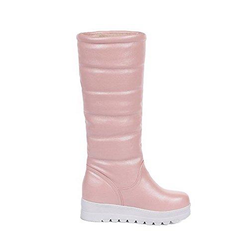 AllhqFashion Damen Rein PU Leder Mittler Absatz Ziehen auf Rund Zehe Stiefel, Pink, 41