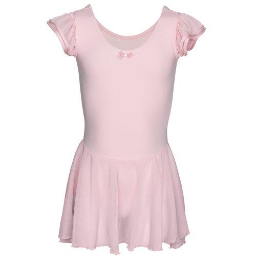 Capezio N3973 Mädchen Flutter Sleeve Ballettkleid, leicht fallende Ärmel Rosa - Pink