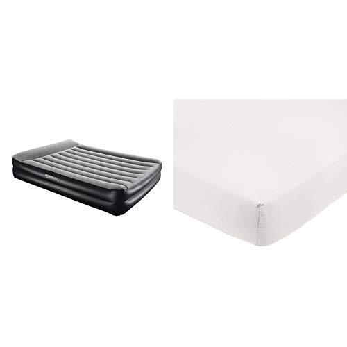 AmazonBasics - Premium-Luftmatratze mit Kissenauflage und integrierter Luftpumpe Doppel - Grau &  Spannbetttuch, Mikrofaser, Creme, 160x200x30cm