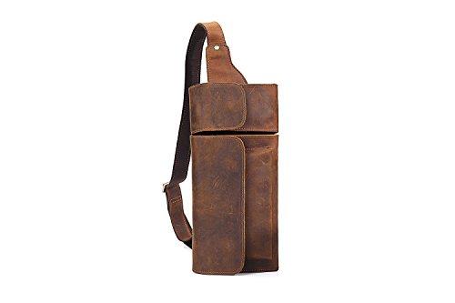YQXR Geldbörsen und Clips, Herren Hüfttasche Crossbody Sohle Kuhfell Brust Cross Bag Crazy Horse Skinny Geldbörse Schultertasche (Color : Brown, Size : S)