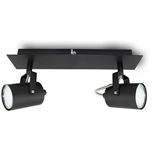 Aufbauleuchte Deckenleuchte Aufputz 1 x VENICE Schwarz 2-Flammig IP20 GU10 Fassung,Deckenleuchte Strahler Deckenlampe Kronleuchter aus Stahl, horizontal und vertikal einstellbar - ohne Leuchtmittel