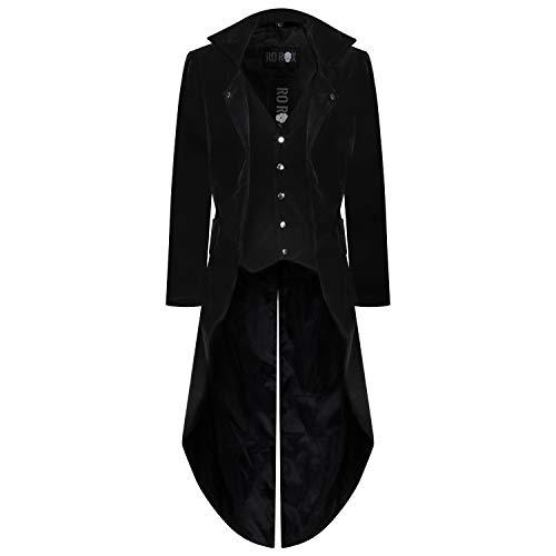 Ro rox frac cappotto gotico formale gilet integrato da uomo velluto (x-large)