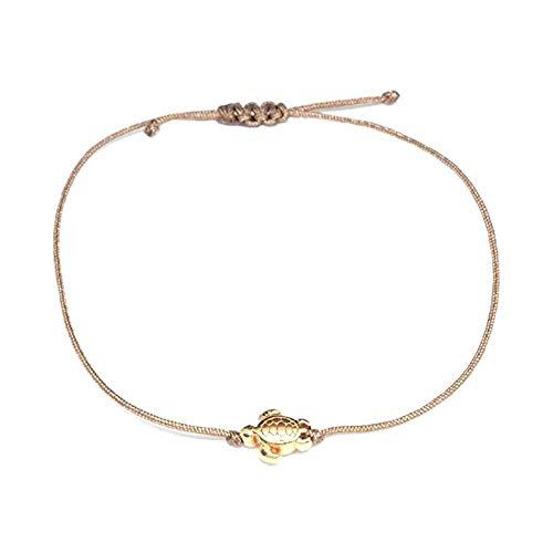 Schildkröten Armband Roségold - Braunes Textil Armband mit roségoldener Schildkröte - HANDMADE