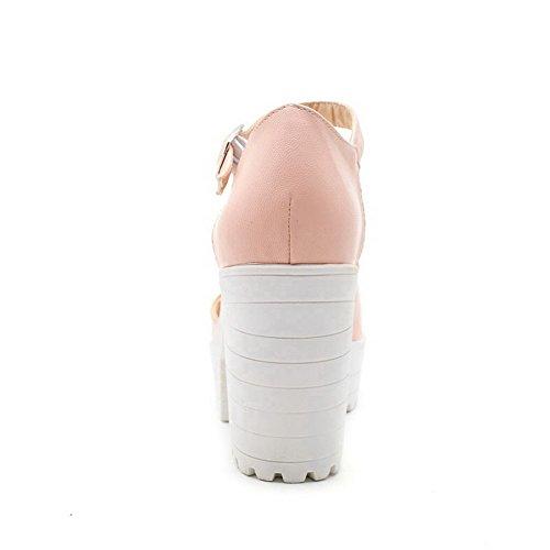 VogueZone009 Donna Fibbia Tacco Alto Luccichio Puro Sbirciare Sandali Rosa