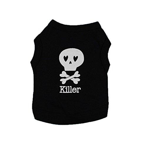 Hundebekleidung, erthome Baumwollstreifen-T-Shirt Welpen-Kostüm für kleinen Hund, Hund Kleider Top (L, Schwarz A)