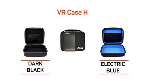 Case Tasche Hülle Box Etui von reVRsed I Für Samsung Gear VR 2017 SM-R325, SM-R324, SM-R323 und Modell 2015 (weiß) | S8 S7 S6 Edge Note 7 Virtual Reality 3D Video Brille, Google Daydream und sonstige Brillen für virtuelle Realität, 360 Grad und Zubehör I Plus: kostenloses EBook der besten VR Apps | Innenfarbe: blau