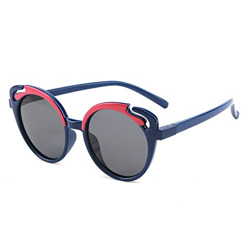 Duhongmei123 Mode Brillen Kinder Kinder Sonnenbrillen niedlich Cartoon Vollformat TAC Silikagel Sonnencreme UV400 Polarisiertes Licht Occhiali (Color : Navy Blue)
