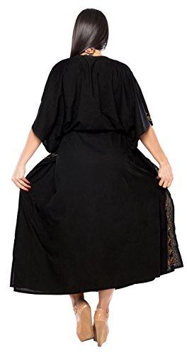 La Leela Designer vertuschen langen Strand Abendkleid Rayon Badebekleidung Badeanzug Kaftan Frauen Kimono Schwarz 6