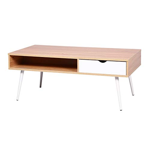 E-starain Meuble TV avec 1 Tiroirs Table Basse en Bois Scandinave Design, Chêne Claire,120 * 60 * 47cm