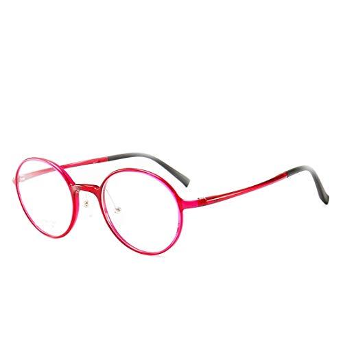 Zebuakuade Kleine runde Brille Nicht verschreibungspflichtige Brille für Frauen, Männer, Computer-Brille (Color : Red)