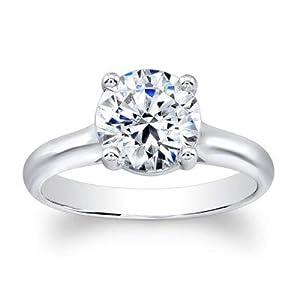 Damen-Ring/Valentinstagsring Weißgold 14 Karat (750) Diamant Solitär Solitär
