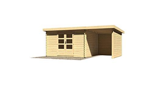Karibu Woodfeeling Gartenhaus Bastrup 7 mit Schleppdach 2 Meter, Rück- und Seitenwand