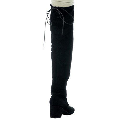 Angkorly - Scarpe da Moda Stivali Alti stivali alti flessibile donna merletto Tacco a blocco 2.5 CM Nero