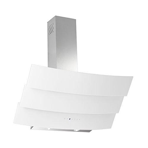 Dunstabzugshaube Kopffreihaube Hood 357 Edelstahl Weiß Glas Edelstahlkamin 90 cm 650 m³/h