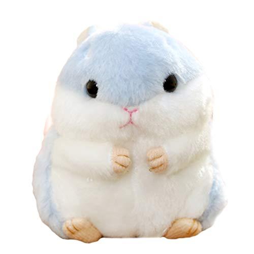 Creamon Süßer Plüsch Hamster Puppe Schlüsselanhänger, Süßer Plüsch Hamster Puppe Schlüsselanhänger Kuscheltiere Schlüsselanhänger Charm Handtasche Anhänger blau