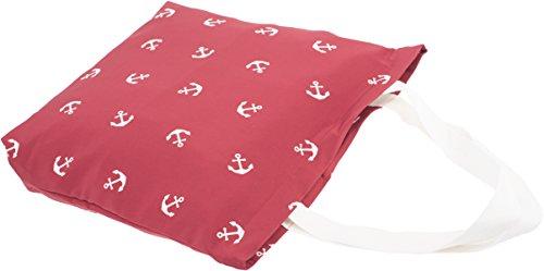 Damen Tasche Anchors Aweigh Anker Sailor Shopper Rot Weinrot mit weißen Ankern