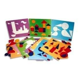 Jeu Logicolor formes géométriques, 9 cartes et plus de 100 pièces couleurs et formes assorties
