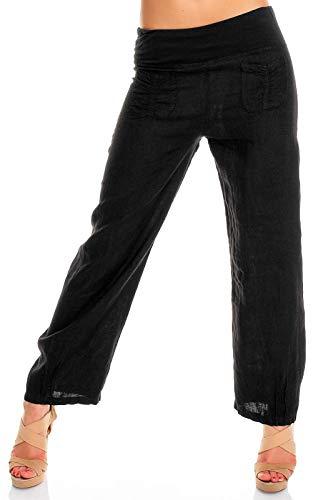 Easy Young Fashion Damen Leinenhose mit weitem Bein Schwarz S 36 (Leinen-hose Weit Geschnittenem Bein)