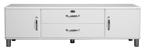 TENZO 5156-005 MALIBU Bahut bas avec 2 portes/tiroir/abattant Panneau/MDF Blanc 182 x 44 x 54 cm