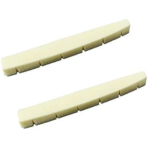 Musiclily 42 * 3.5 * 4.5 / 3.5 millimetri Chitarra elettrica pre-scanalato Bone Stringa Dado per 6 corde Fender Strat Chitarra Tele sostituzione (confezione da 2)