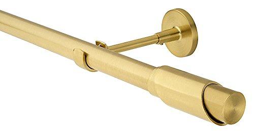 HUGG EA12.502 Vorhangstange 25 mm Ø, Farbe Messing Matt, Wandmontage, in Längen bis 480 cm, Ihre Wahl: Länge 400 cm | Endstück Kozana