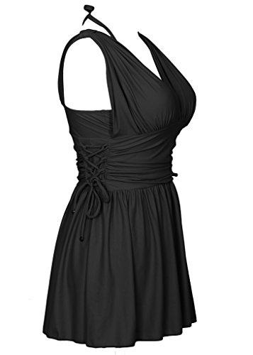Figurformender Badeanzug Damen Einfarbiges Badekleid V Ausschnitt Badebekleidung Schwarz