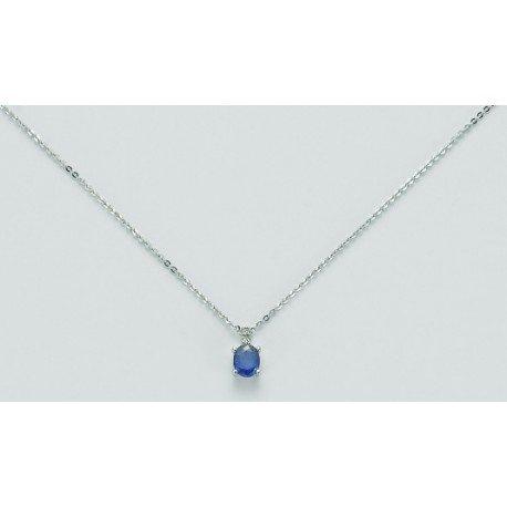 Collana MILUNA in oro bianco, diamanti e ZAFFIRO - CLD3705X