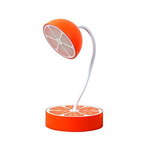 Metall Schreibtischlampe LED Tageslichtlampe Kreative Obst Tischlampe Geschenk Licht Zitrone Orange Touch Dimmen USB Lade Augenschutz Lernheim (Farbe : Orange, Größe : 12 * 12 * 25cm)