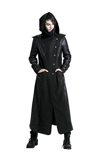 Herren Kapuzenmantel Trenchcoat Punk Rave Gothic Jacket Militärmantel Gehrock Y-420 (XXL)