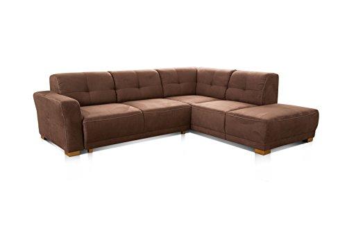 """Cavadore Ecksofa \""""Modeo\"""" / Sofa-Ecke mit Federkern und modernen Kontrastnähten / Hochwertiger Mikrofaser-Bezug in Wildlederoptik / Holzfüße / Maße: 261x77x214 cm (BxHxT) / Farbe: Braun"""