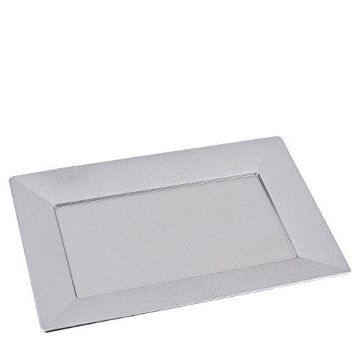 Tablett rechteckig Metallic Xmas Design Kunststoff 2x30x20cm Schale (Silber) (Kunststoff-silber Tablett)