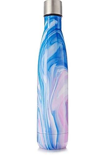 Macy's Trinkflasche aus Edelstahl, isoliert, Pink/Blau