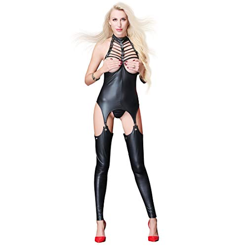 Erotische Lingerie-Onesie Jumpsuit With Nude Chest And Zipper Open Crotch Ladies Bodysuit Erotic Faux Leather Shiny Fetish Costume Crotchless Playsuit,M
