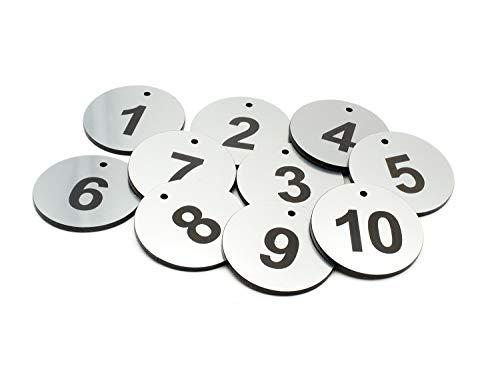 Origin Schlüsselanhänger aus Acryl, rund, silberfarben, 1 bis 10 nummeriert - mit schwarzer Gravur, für Hotels, Pensionen, B&Bs, Unternehmen