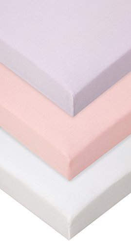 Lot de 3 draps housse Coton - 70x160 - rose blanc parme