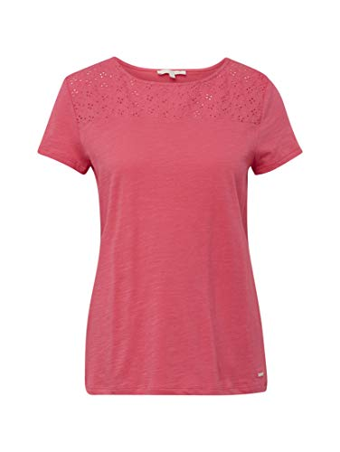 TOM TAILOR Denim Damen Lochmuster T-Shirt, Rosa (Intense Pink 16908), XX-Large - Pink Denim