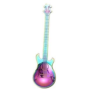AmaMary Guitar Coffee Teaspoons, Creative Colorful Rainbow Stainless Steel Guitar Coffee Tea Spoon Flatware Drinking Tools (Multicolor)