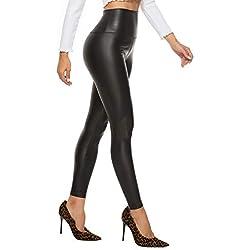 FITTOO Mujeres PU Leggins Cuero Brillante Pantalón Elásticos Pantalones para Mujer300#2 Negro Mate M