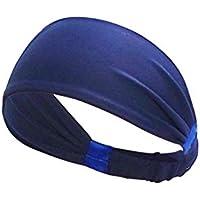 Fansi 1 Stück Mode Elastisch Sport Stirnband Damen Herren Schweißbänder Kopf Stirn Haarband Laufende Fitness Radfahren Yoga Outdoor-Sport Haarband (Tiefblau)