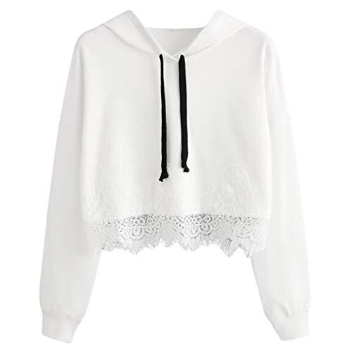 ABsoar Sweatshirt Damen Hoodies Kapuzenpullover Spitze Langarm Blusen mit Kapuze Pullover Zufälliges Oberseiten Streewear Sportshirt