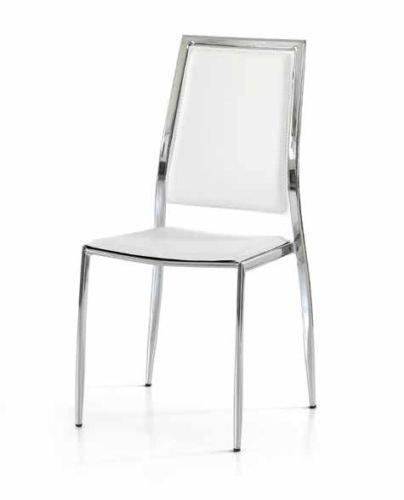 Legno&Design Lot X 2 Chaise Moderne Acier chromé Cuisine séjour Restaurant recouverte Simili Cuir